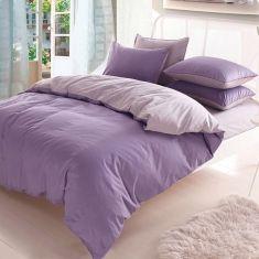 3 4pcs Pure Cotton Light Purple Grey Assorted Bedding Sets Plain