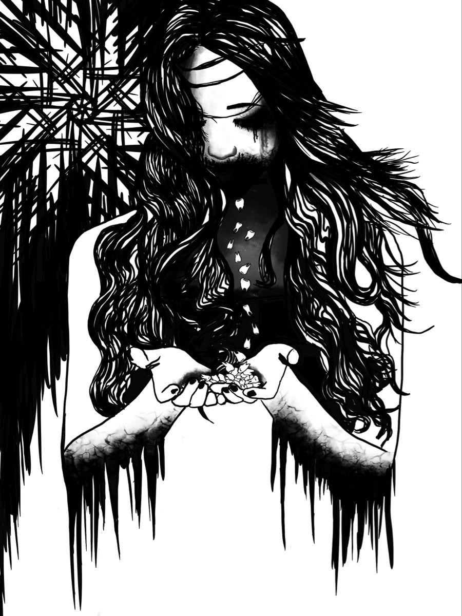 #art #digitalart #gothicaart #darksurrealism #horror #looseteeth #inktober #blackandwhite #minimalist