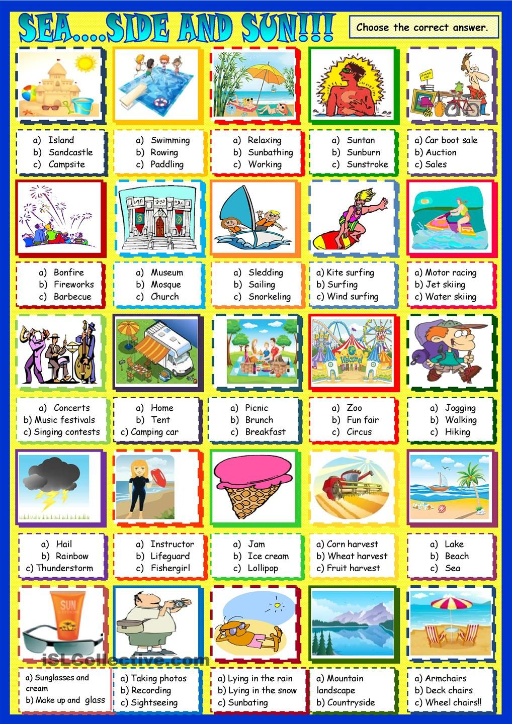 sea ....side and sun: multiple choice | ESL worksheets of the day ...
