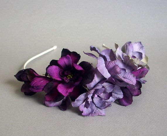 Lavender and Purple Silk Flower and Ivory Satin Bridal Headband - Violet Delphinium