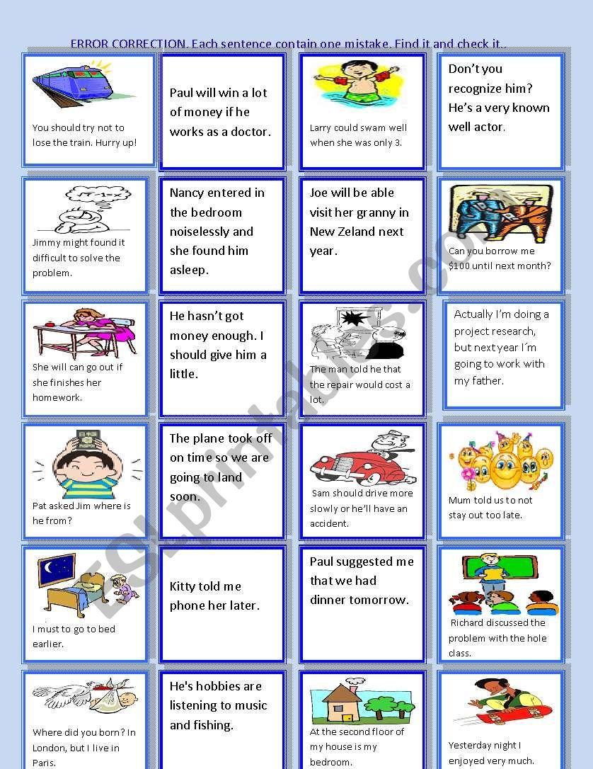 Error Correction Worksheet Editing Writing Grammar Worksheets Vocabulary Skills [ 1086 x 838 Pixel ]