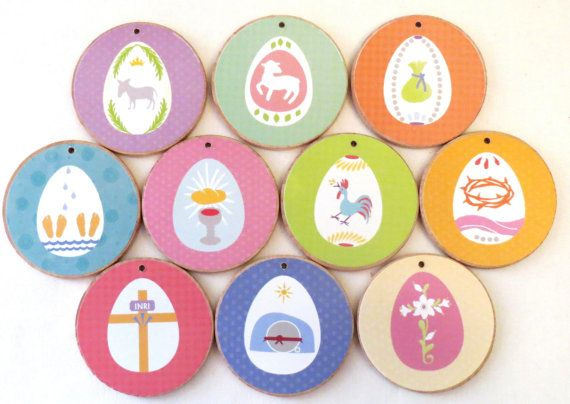 Spring Holy Week Easter Ornaments WITH TREE by JesseTreeTreasures