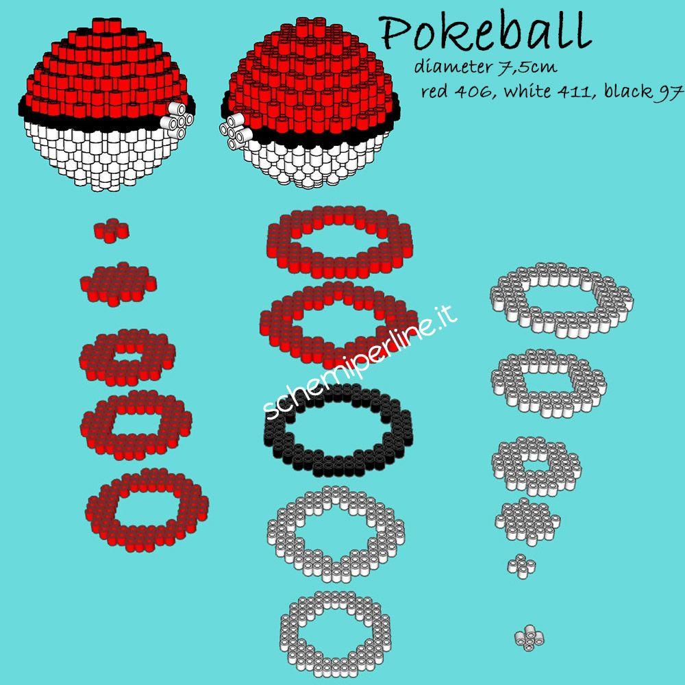 La pokeball dei pokemon schema gratis 3d perline da for Progetti in 3d gratis