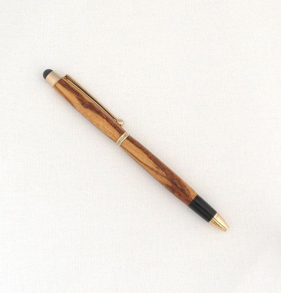 Ballpoint Wood Pen Handmade in Rose Gold and Marblewood