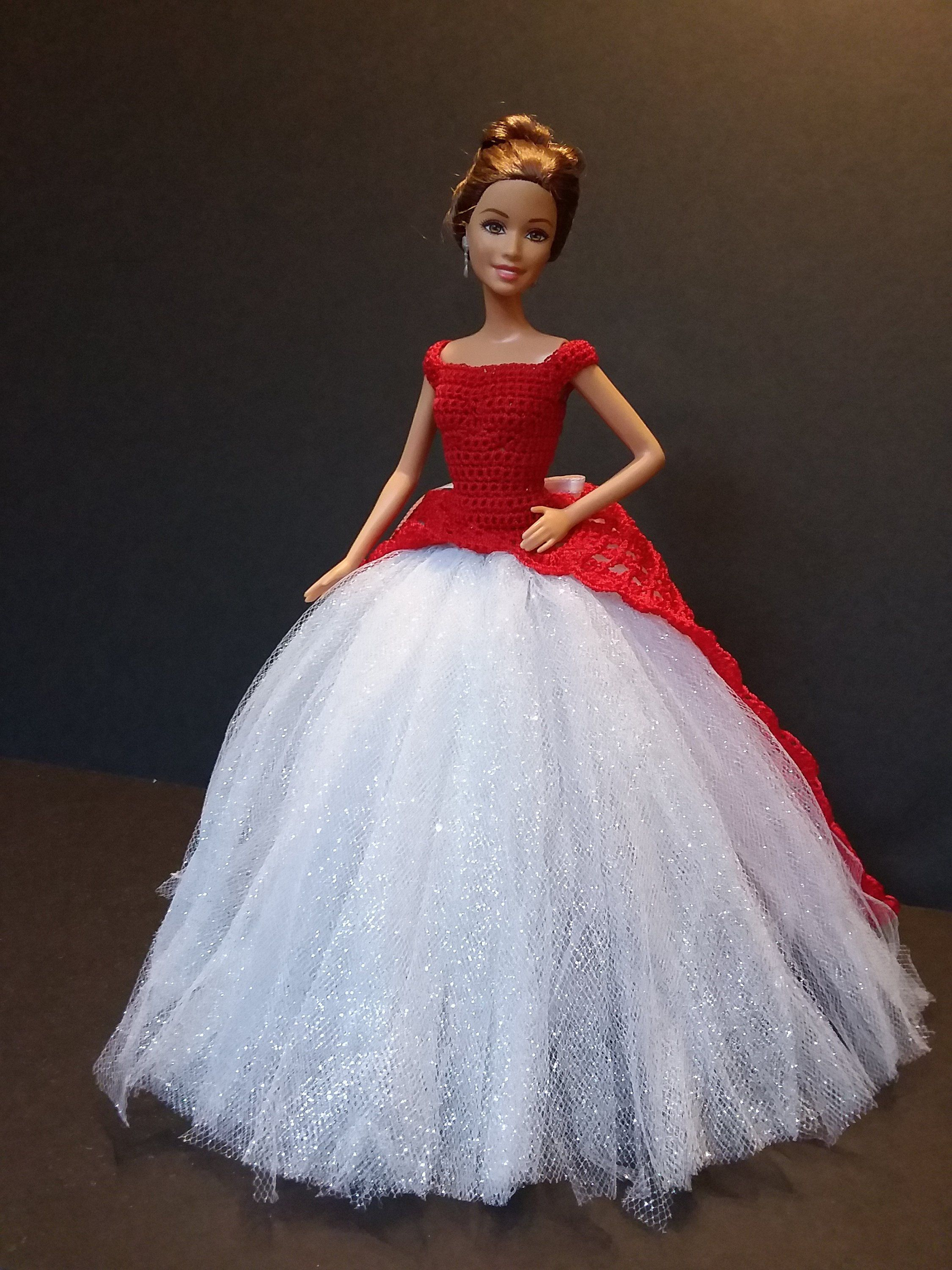 Red Crochet Barbie Ball Gown with tulle Ball gowns