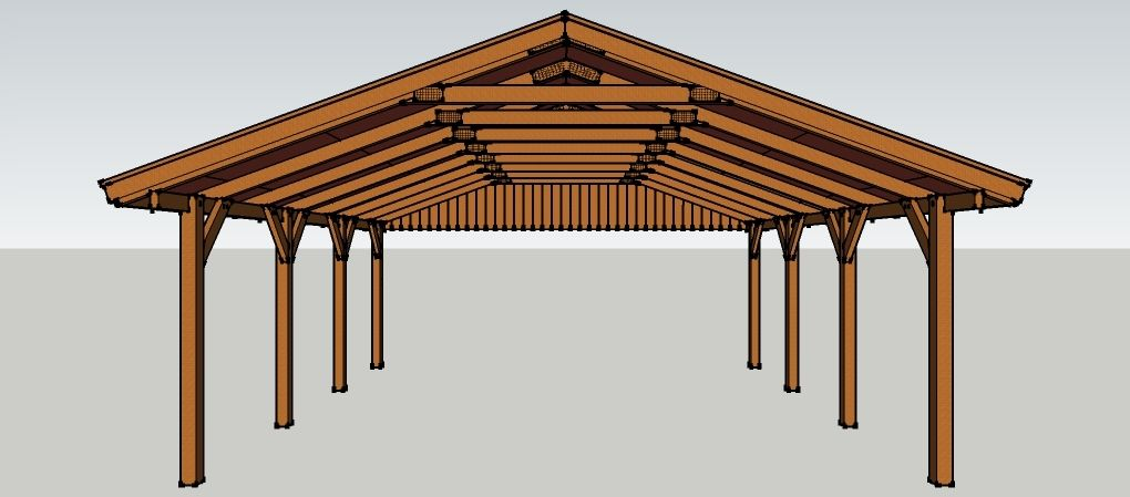 carport 6 x 7 meter mit satteldach aus holz zum selber. Black Bedroom Furniture Sets. Home Design Ideas
