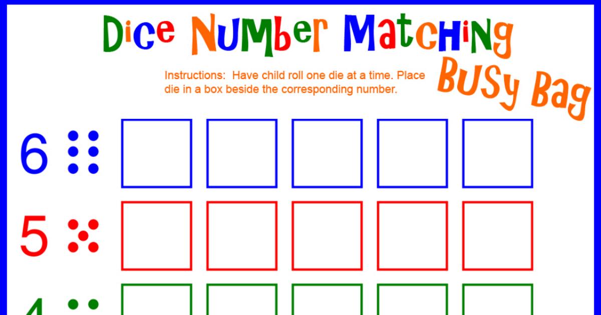 dice number matching.pdf Preschool activities, Number