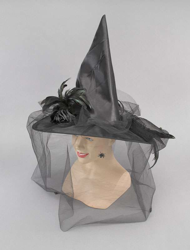 Halloween Witch Hat   Halloween Fancy Witch Hat Satin witch's hat with bottle-green feathers ...
