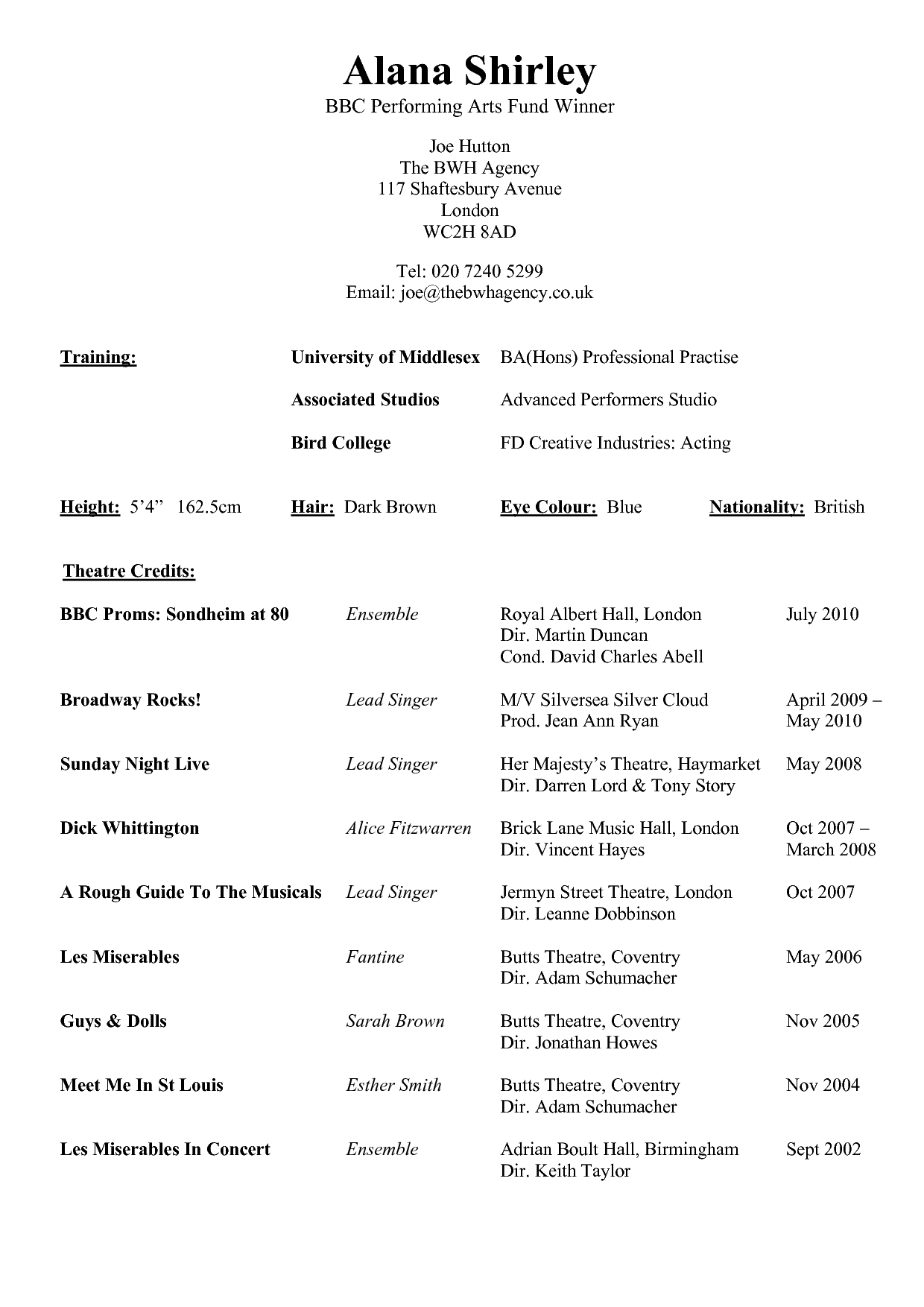 Resume Template Example For Performing Arts With Theatre Credits  Resume Templates Examples Free