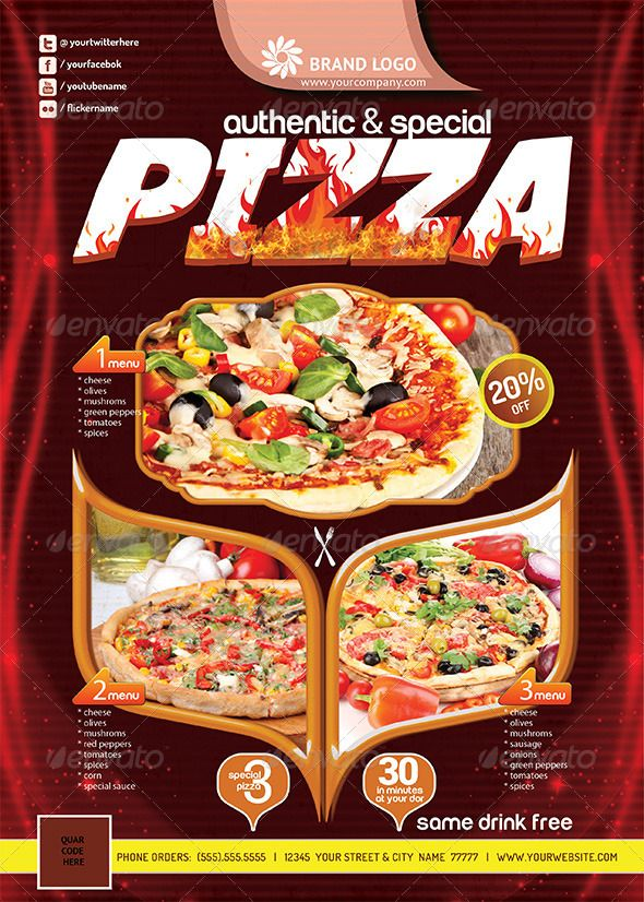 Pizza Flyer (Print Ready) V2 Flyer printing, Template and Logos - food flyer template