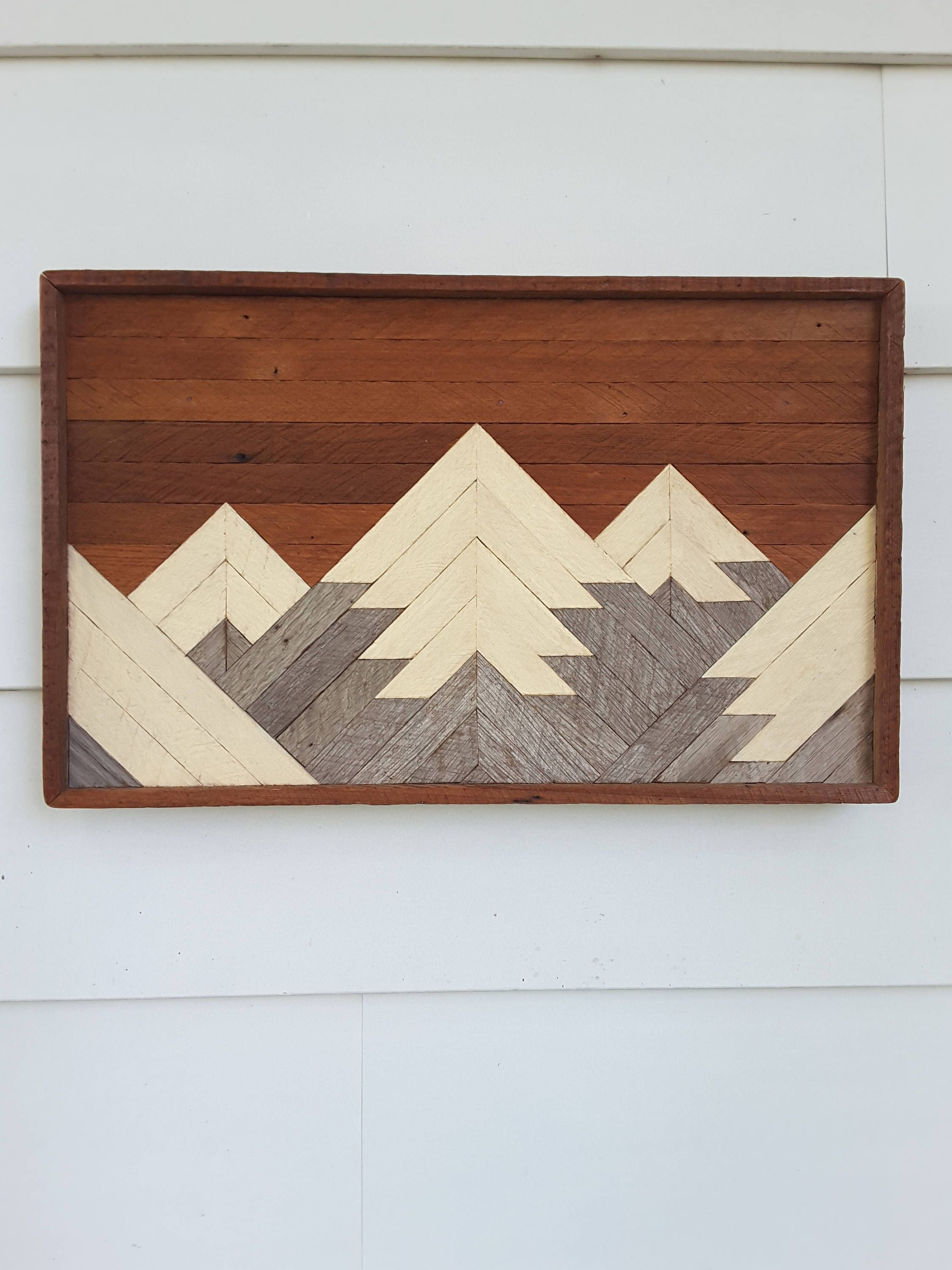 Rustic Mountain Tops Small Mountain Range Reclaimed Wood Wall Art