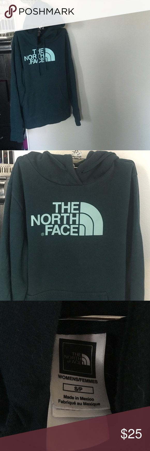 """The North Face Hoodie Size small. Easy pull over hoodie. Dark teal/turquoise color with lighter lettering of """"The North Face"""" worn once. The North Face Tops Sweatshirts & Hoodies"""