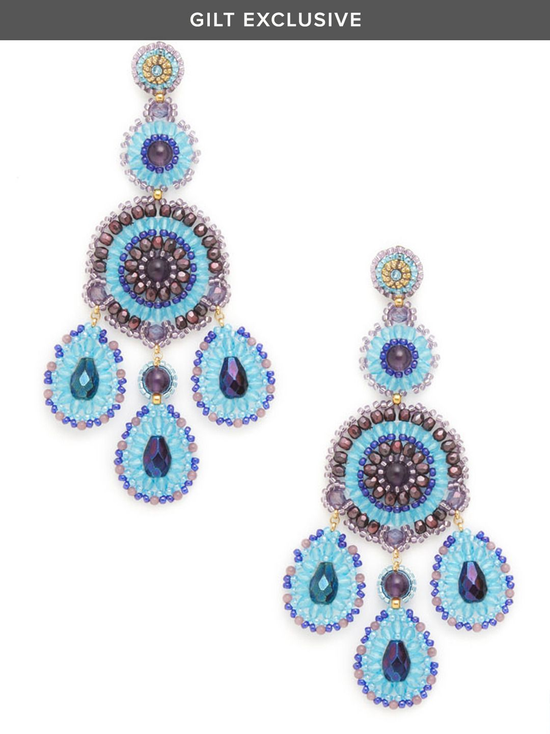 Amethyst Blue Oversized Chandelier Earrings By Miguel Ases At Gilt