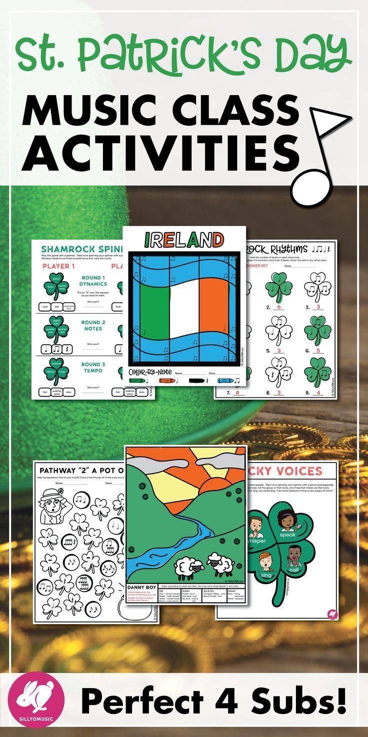 This St. Patrick's Day music worksheets, printables