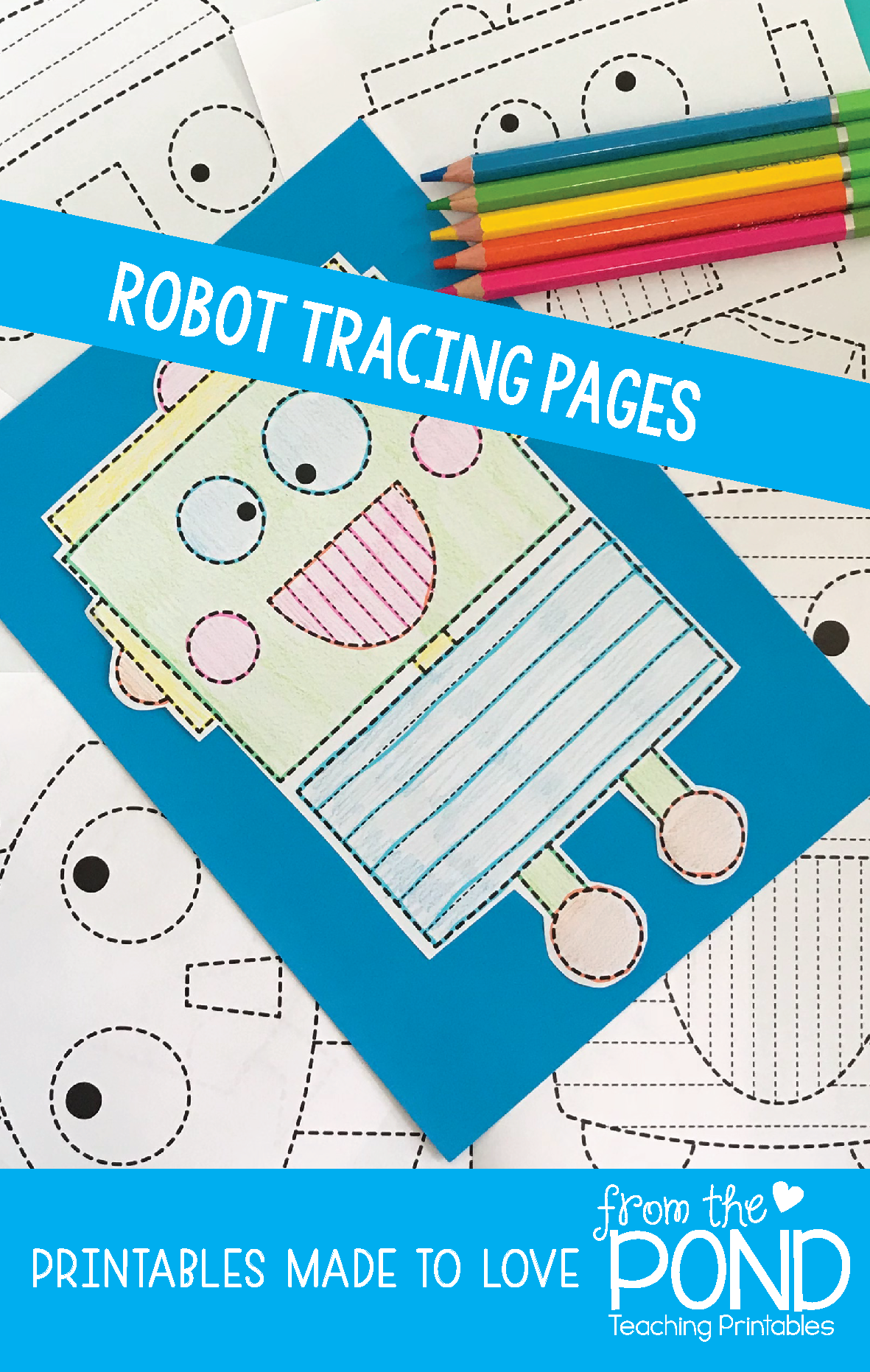 Robot Big Shape Tracing {Prewriting Activity} | Tracing worksheets ...