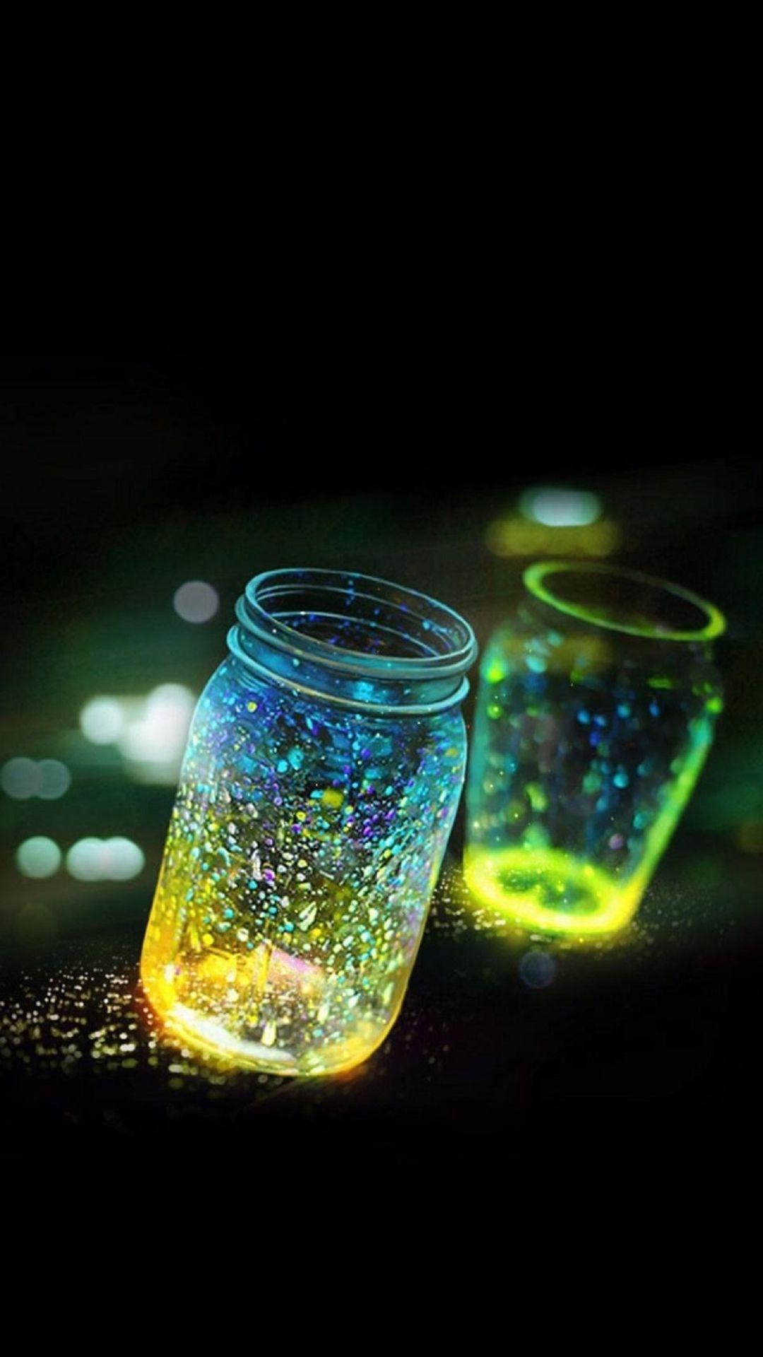 Fluorescence Glitter Glass Bottle In Bokeh Dark iPhone 6