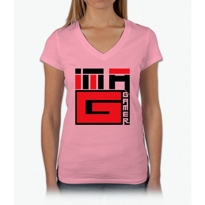 I'm A G (gamer) Red/black Pikachu Womens V-Neck T-Shirt
