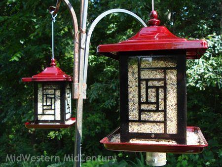 Midwestern Midcentury Bird Feeders Asian Garden Asian Bird Feeders