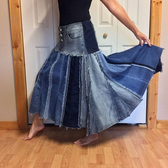 Long Denim Maxi Skirt/Plus Size Blue Jean Skirt/Stretch Denim/Dark ...