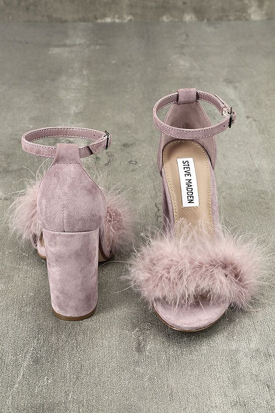 4991da12e31  99 The Steve Madden Carabu Rose Suede Leather Feather Heels have us  feeling fancy and free! Soft pinfeathers cover the toe band of these  peep-toe