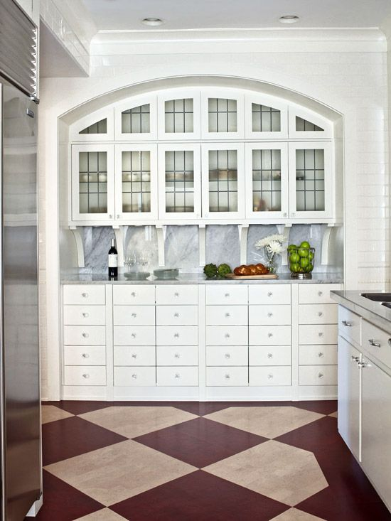 Stained Cork Floors Provide A Graphic Backdrop  Traditional Home Endearing White Kitchen Hutch Decorating Design