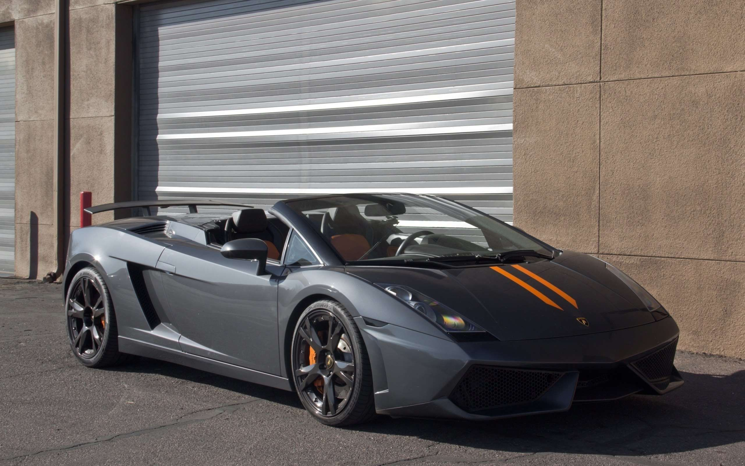Gray Lamborghini Gallardo With Orange Stripes Wallpaper Hd Widescreen Desktop