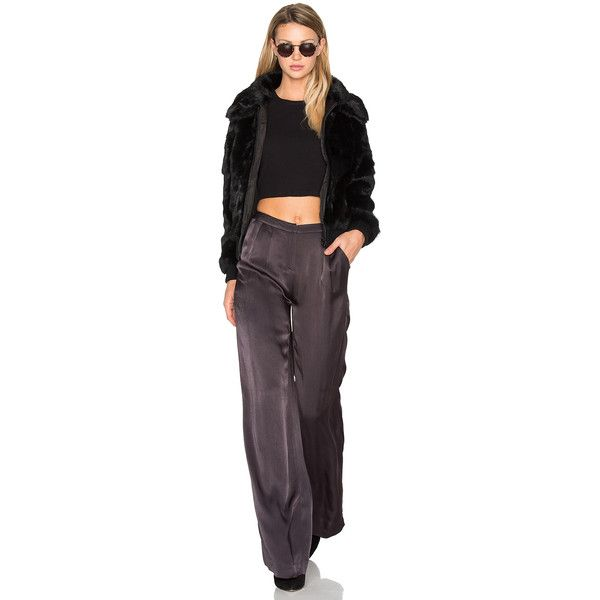 EAVES Kaya Cropped Rabbit Fur Jacket (23,200 INR) ❤ liked on Polyvore featuring outerwear, jackets, coats & jackets, zip up bomber jacket, zip bomber jacket, rabbit fur jacket, zip jacket and bomber style jacket