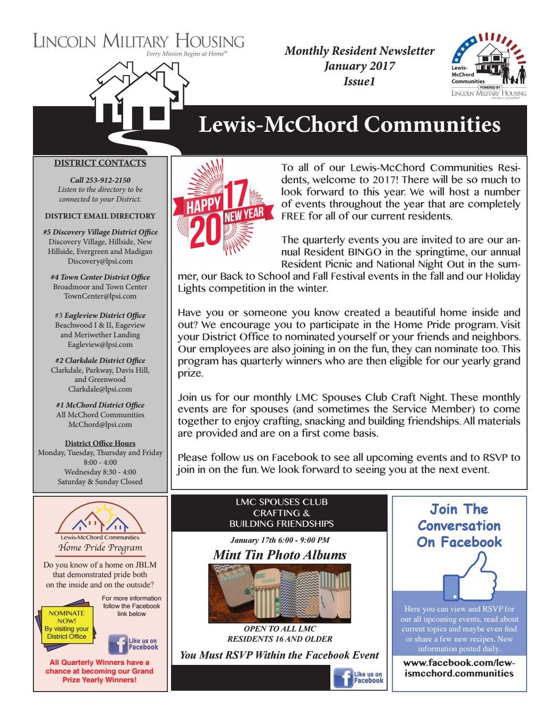 January 2017 Resident Newsletter Newsletters Resident