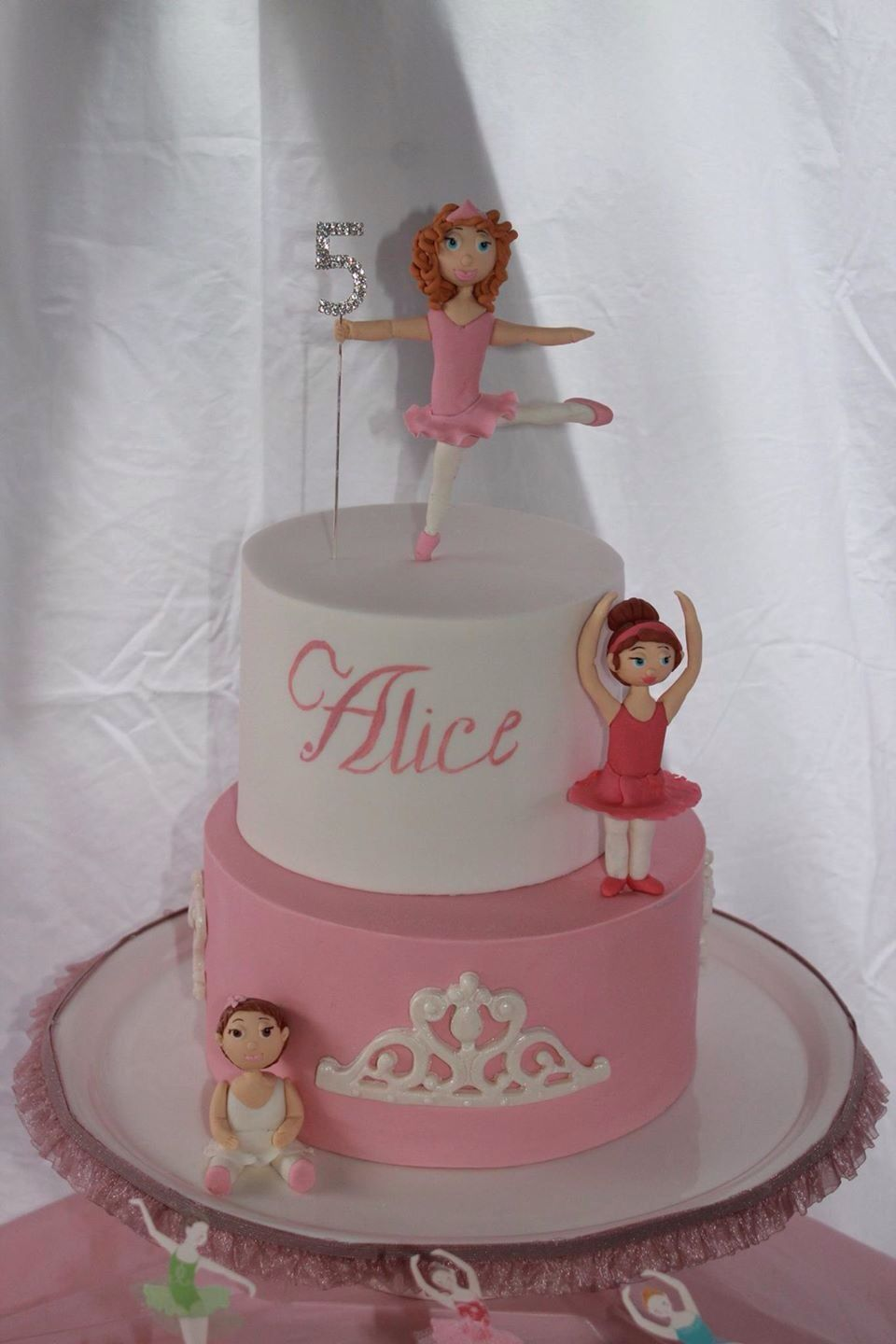 My little Miss Alice's 5th Ballerina Birthday Cake. The request was a cake with Alice and her two younger sisters in ballerina outfits.