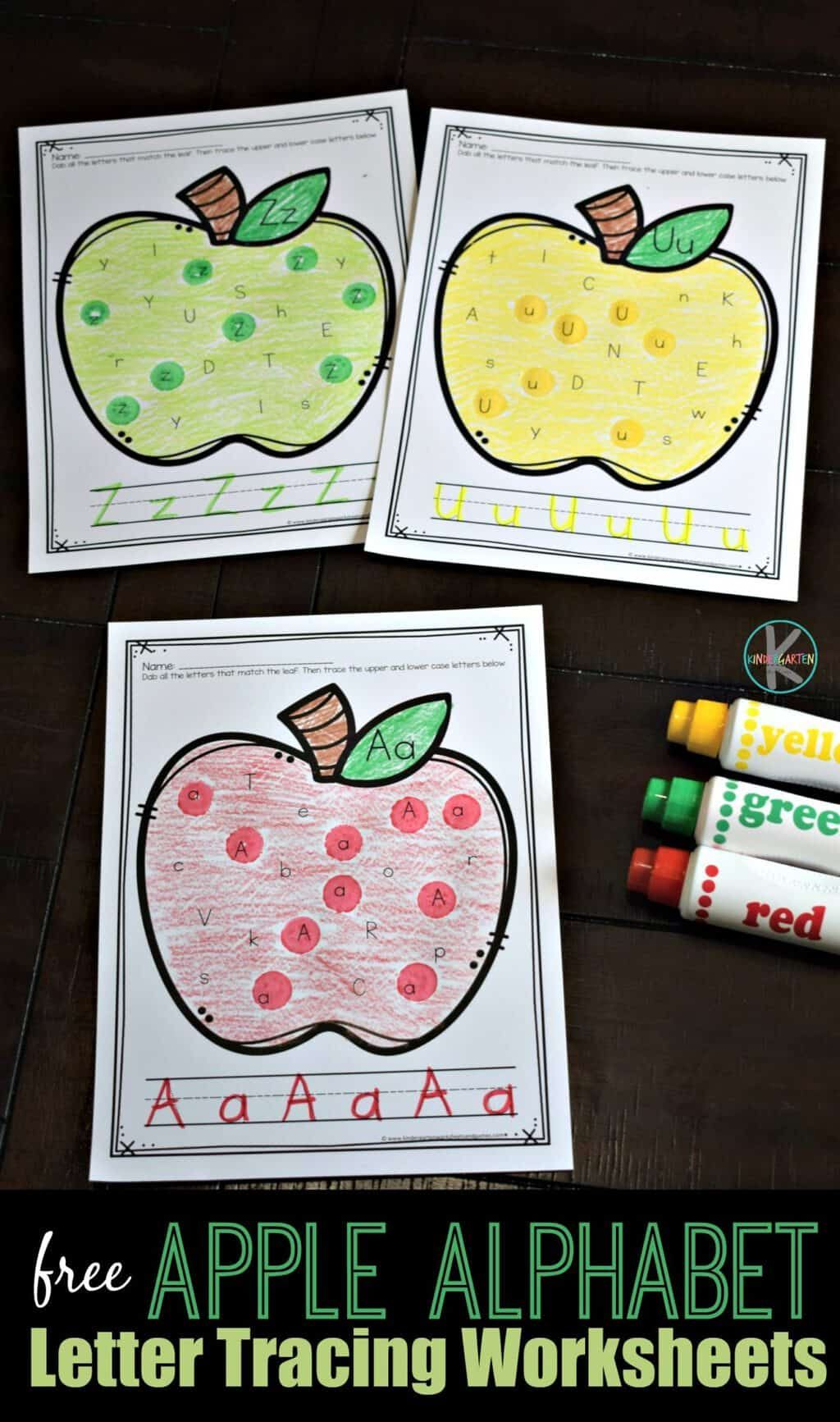 Free Apple Alphabet Letter Tracing Worksheets