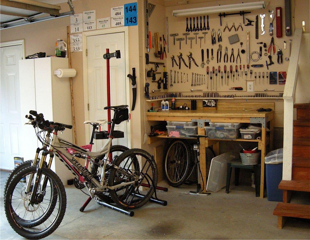 How To Set Up A Home Bike Shop For Every Space And Budget Singletracks Mountain Bike News Mountain Bike Shop Bike Repair Bike Room