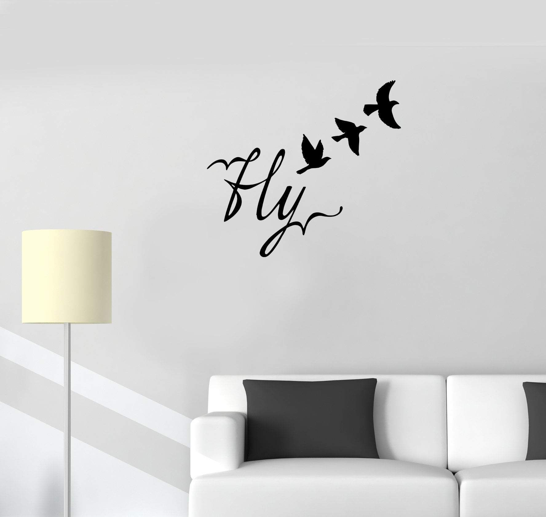 wall decal birds flight fly word romance vinyl sticker on wall stickers for hall id=32399
