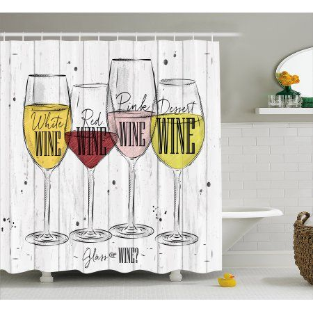 Wine Shower Curtain Four Main Types Of With Their Names Glasses Vintage Rustic Wood Backdrop Drawing Fabric Bathroom Set Hooks 69W X 75L Inches