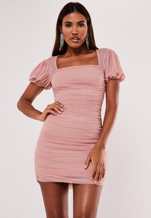Missguided - Blush Mesh Puff Sleeve Milkmaid Mini Dress
