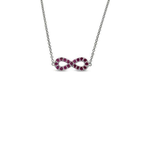 Zales Amethyst Sideways Infinity Necklace in Sterling Silver Z4Dl1