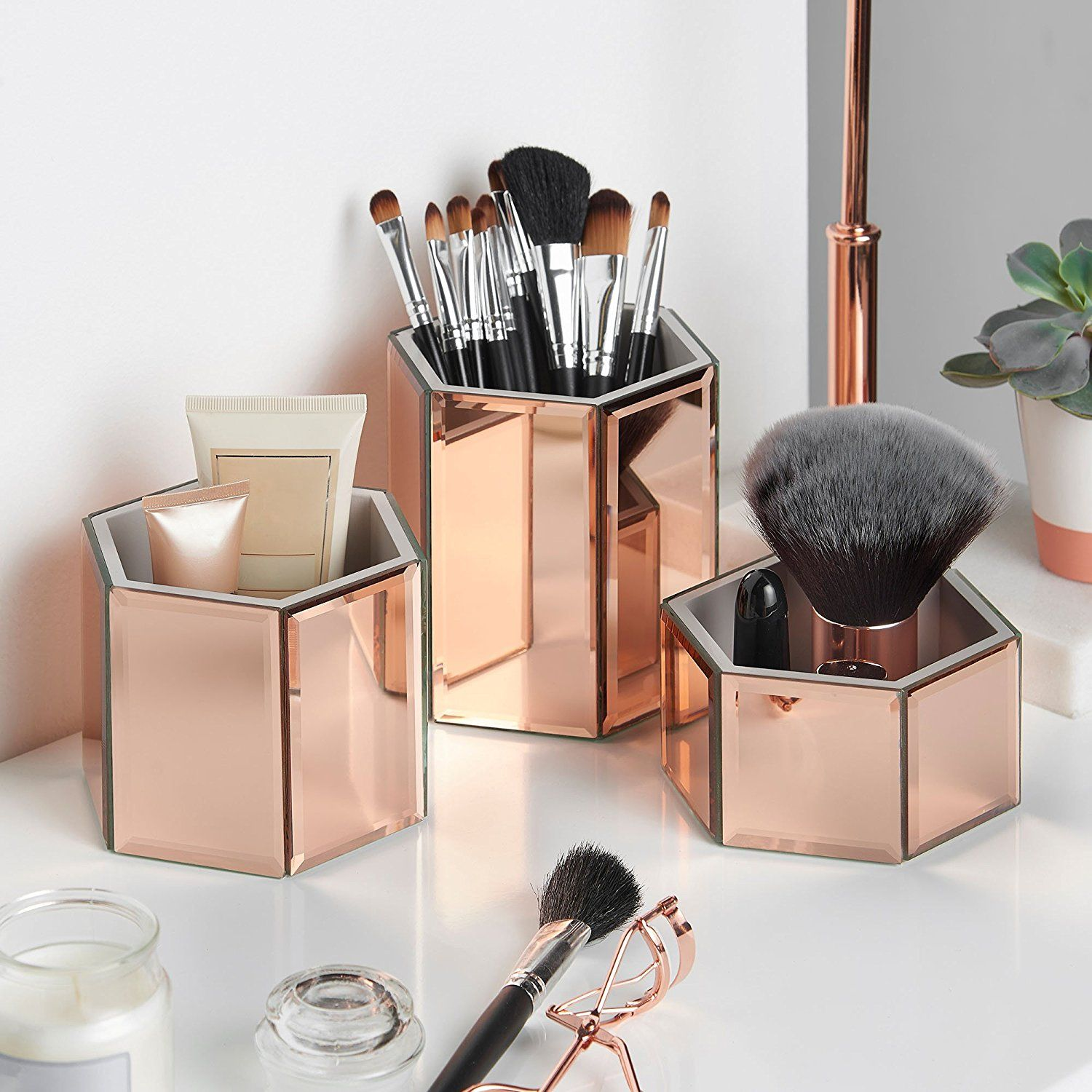 Beautify Rose Gold Mirrored Glass Hexagon Storage Pots for