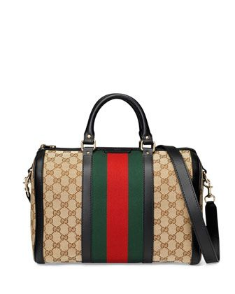 fc01d5dc60f Vintage Web Medium Boston Bag Black Red Green in 2019
