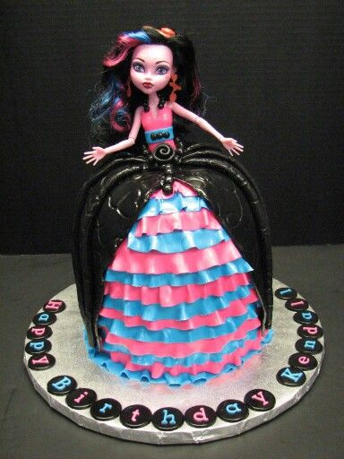 Brilliant Monster High Doll Cake With Fondant Ruffles With Images Personalised Birthday Cards Sponlily Jamesorg