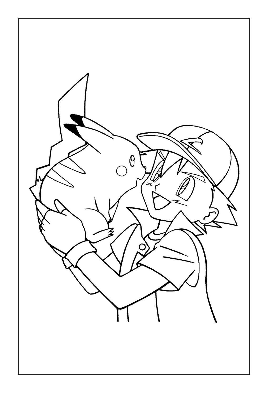 Printable Pikachu Coloring Pages Ash And Pikachu Pikachu