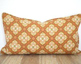 Burnt Orange Lumbar Pillow Cover For Outdoor Furniture Rust Outdoor