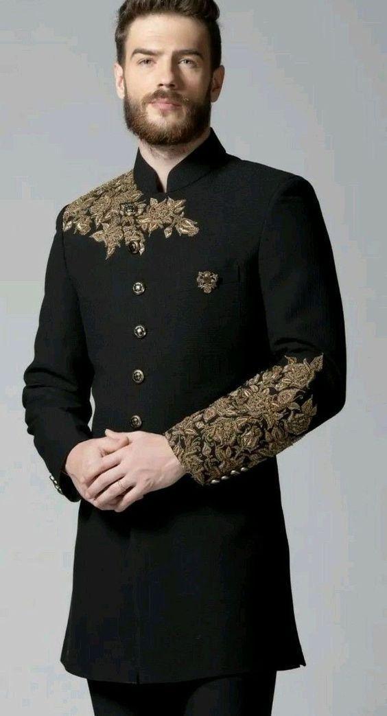 Jodhpuri Desginer Suit,Men Suits, Men Wedding Suit, Indian Ethnic Wear, Mens wedding Dresses,Groom Wedding Suit Coat + Black Pant