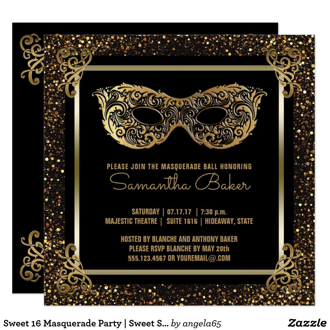 Sweet 16 Masquerade Party | Sweet Sixteen Gold Invitation | Zazzle.com
