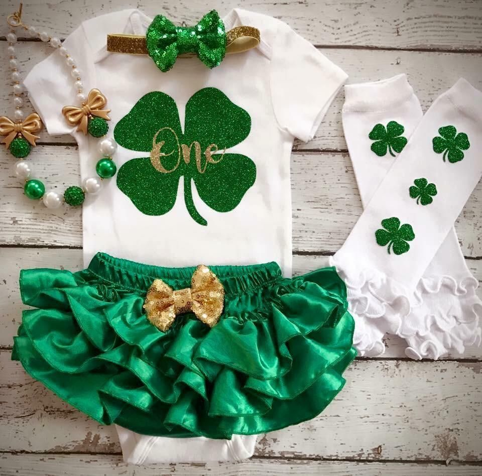 First Birthday outfit St Patrick's Day/ Irish/Lucky Charm