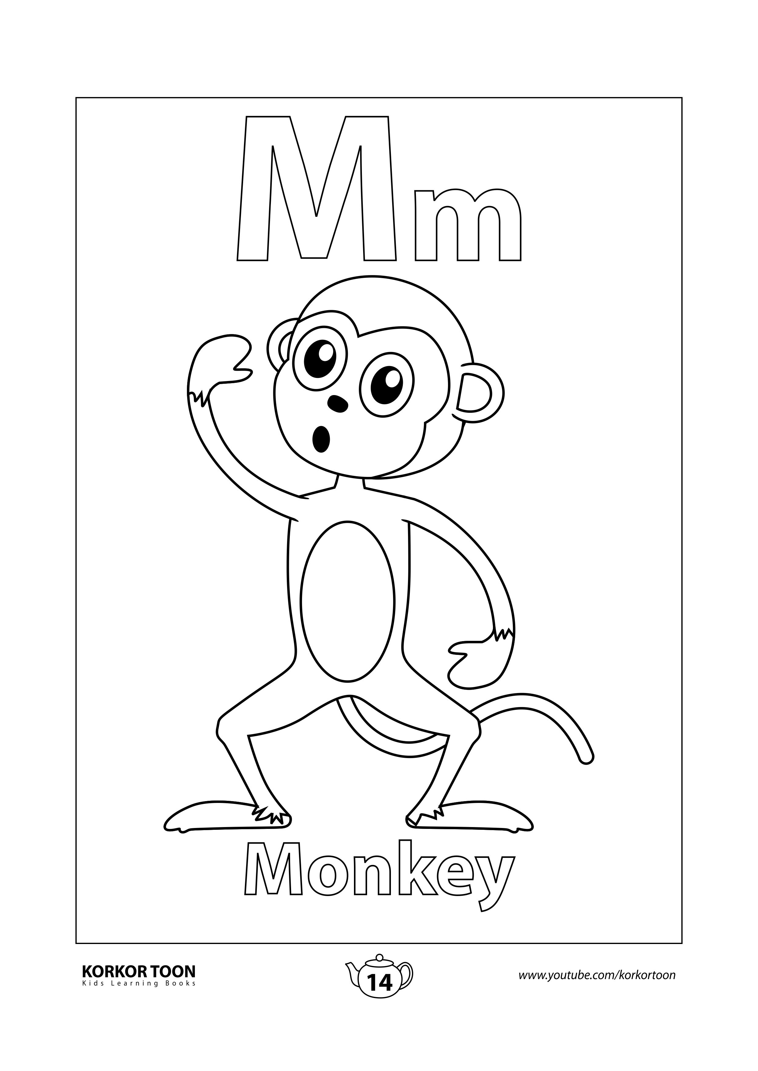 Monkey Coloring Page Abc Coloring Book [ 3508 x 2482 Pixel ]