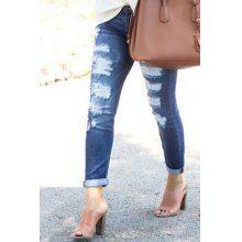 Trendy Mid-Waist Broken Hole Ripped Jeans For Women