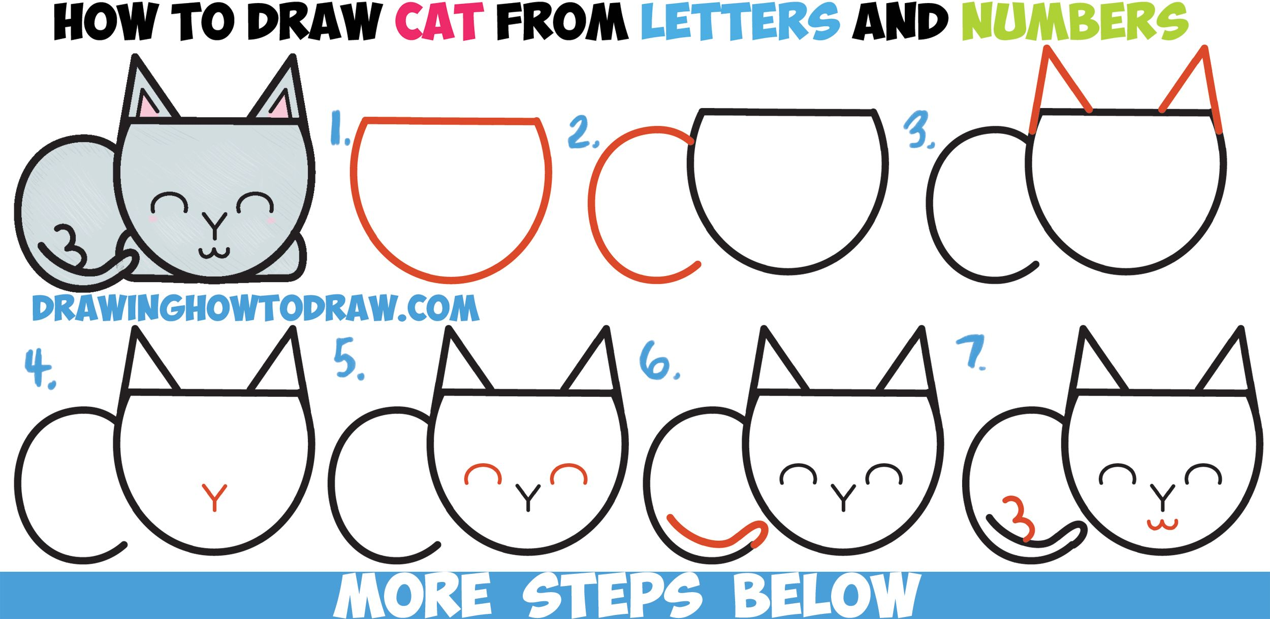 How To Draw A Cute Cartoon Cat Completely From Letters Numbers Shapes Easy Step By Step Drawing Tutorial For Kids How To Draw Step By Step Drawing Tutoria Drawing