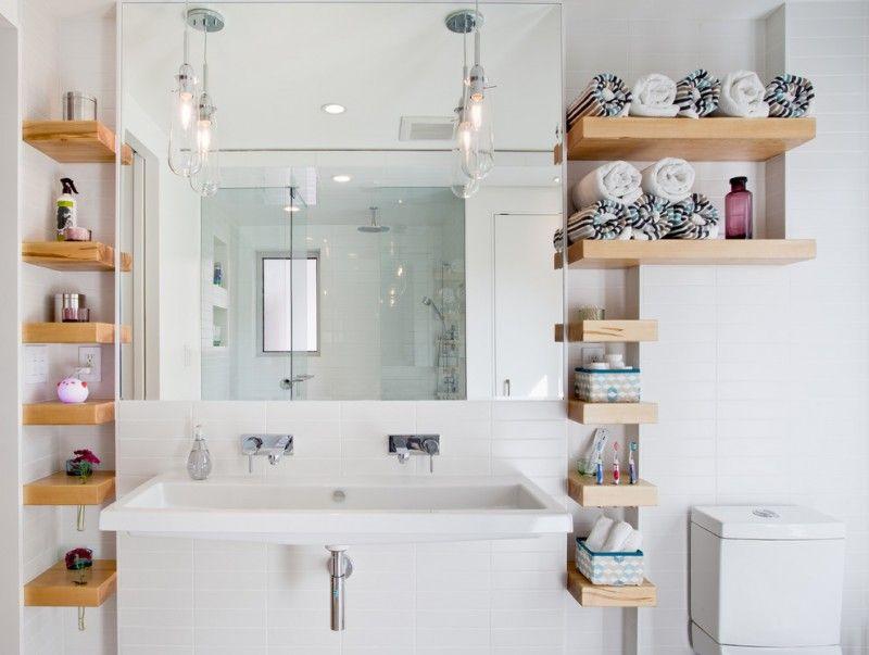 Contemporary Bathroom With A Trough Sink Bathroom Floating Organizer