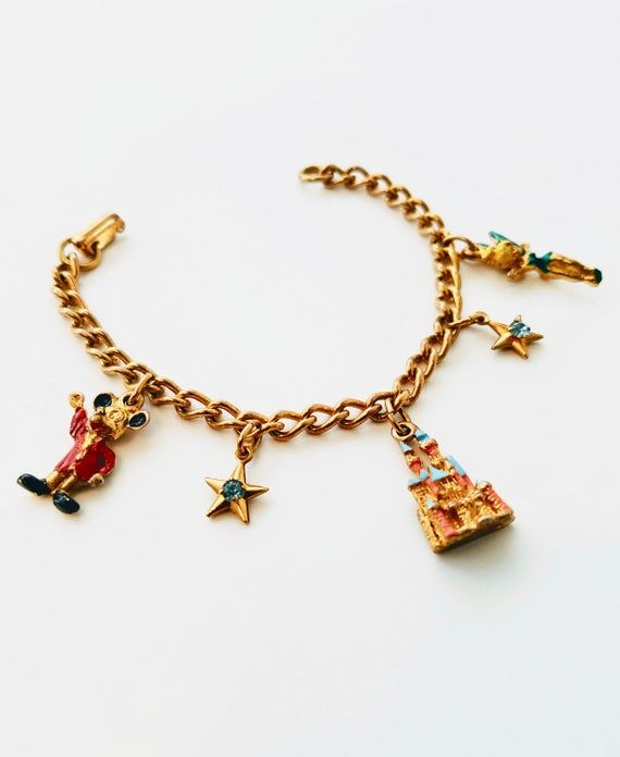 1960's Vintage Disneyland Gold-tone Charm Bracelet with 5 Charms Disney Jewelry #disneylandfood