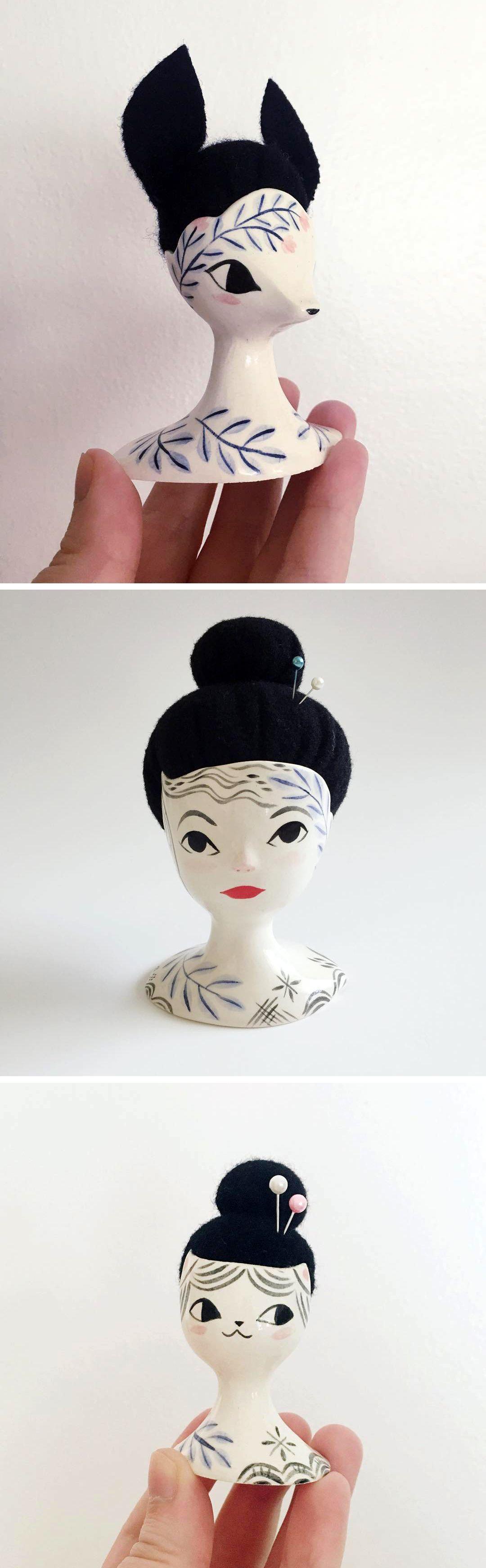 Bespoke pin cushions by Erin Paisely // pincushions // pincushion // ceramic pin cushion // face vase