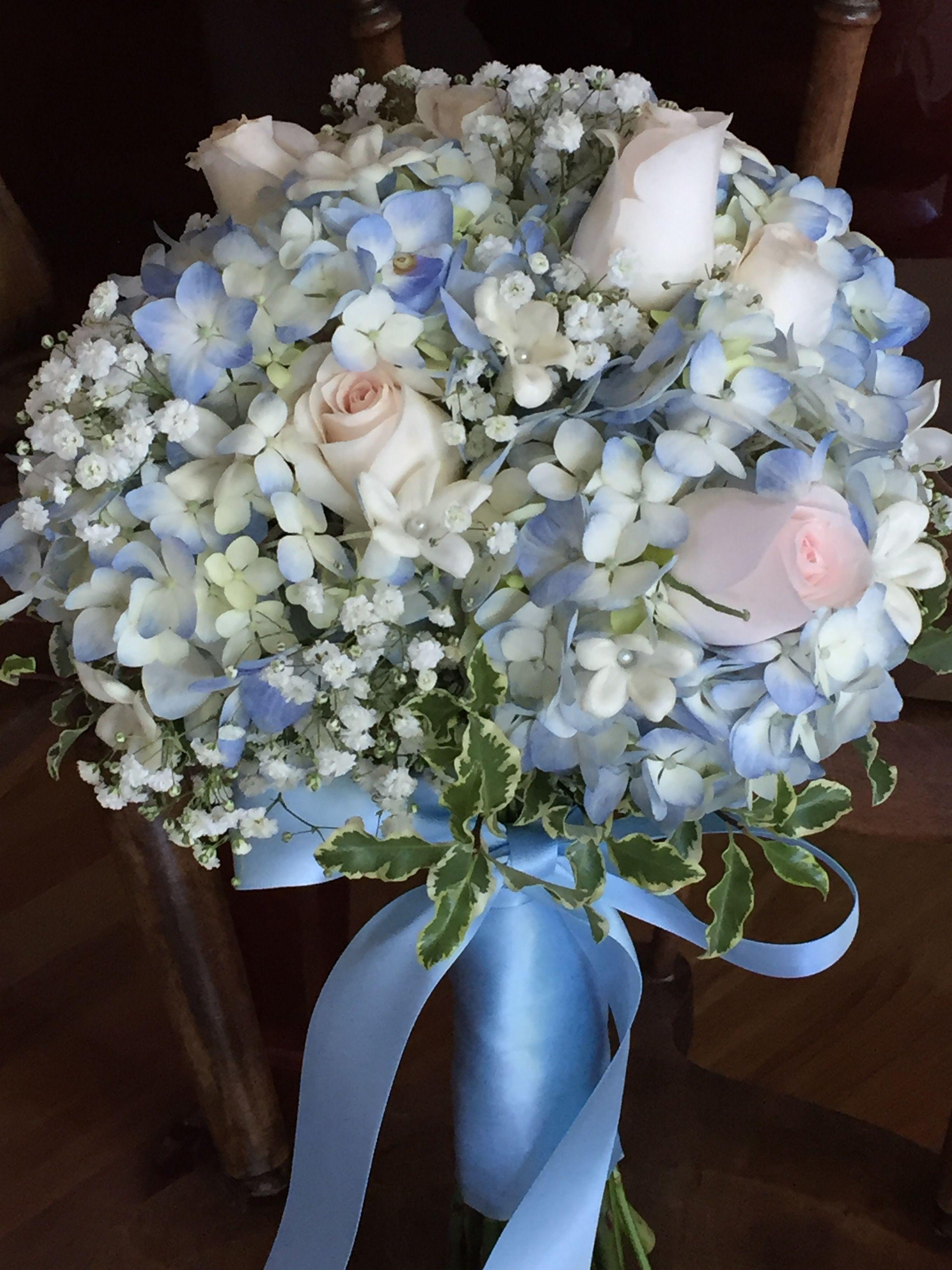 Soft Blue Hydrangea Blush Pink Roses Stephanotis And